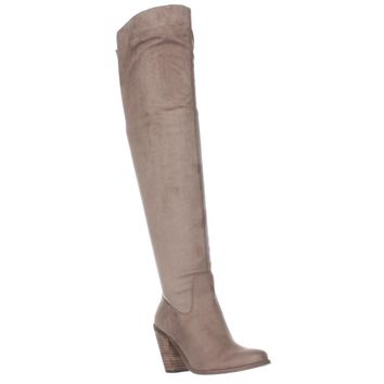 Jessica Simpson Coriee Over The Knee Back Lace Heeled Boots, Slater Taupe, 5.5 US / 35.5 EU