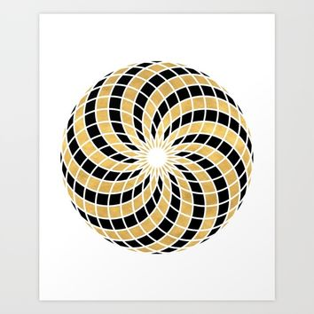BLACK AND GOLD TORUS circular sacred geometry Art Print by deificus Art