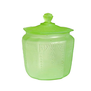Green Depression Glass Cookie Jar / Anchor Hocking glass in the Cameo Green  / Uranium Depression Glass / Black Light Glow / Lime Green