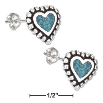 Sterling Silver Earrings:  Simulated Turquoise Heart Earrings Stainless Steel Posts-nuts