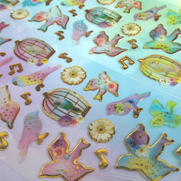cute birds sticker colorful birds fancy birds epoxy sticker bird cage bird theme label fairy tale birds press flower pattern decor sticker