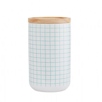 General Eclectic Canister - tall aqua grid