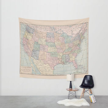 United States Map Tapestry Wall hanging - vintage map, pastel colors, beautiful map, travel decor, wall decor atlas, den, bedroom, library