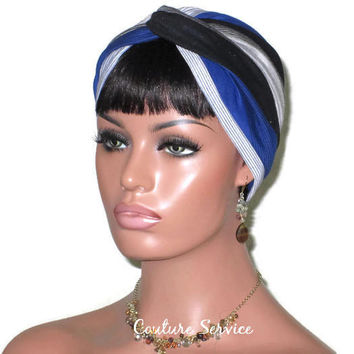Handmade Striped Rayon Blue Twist Turban, Grey Heather and Black