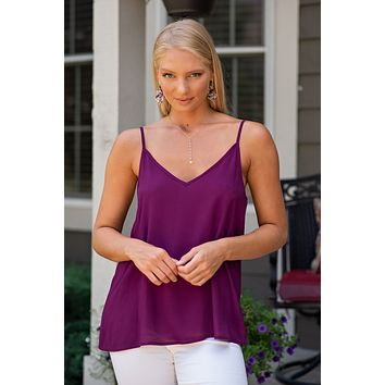 Be Royal Sleeveless Cami Top : Plum