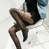 LV LOUIS VUITTON Womens Fishnet Tights Suspender Pantyhose Thigh-High Stockings