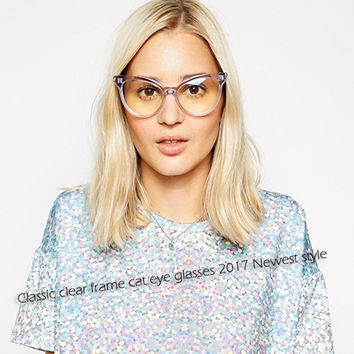 ROYAL GIRL Hot New Transparent Cat Eye Glasses Women Sexy Eyeglasses Fashion Optical ClearLens Glasses ss222
