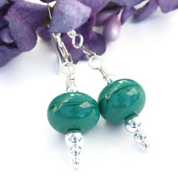 Christmas Green Lampwork Earrings Sterling Icicle Holiday Jewelry OOAK