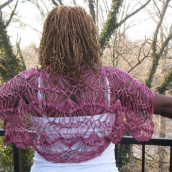 Crochet Purple shrug, Crochet shades of Purple,  Hairpin lace shrug made with wool/silk yarn