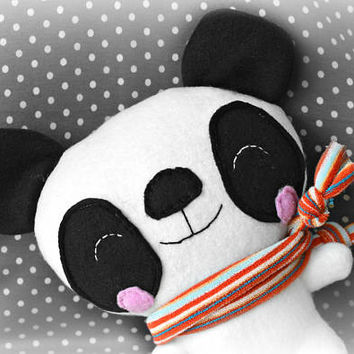 Stuffed teddy bear, stuffed panda bear, plush toy, panda baby shower, toddler toy, toddler gift, stuffed animal, gift for kids, plushie