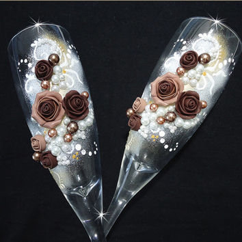 Beautiful Chocolate Hand Decorated Romantic Wedding or Anniversary Champagne Glasses Toasting Flutes Pearls Polymer Clay Flowers Roses