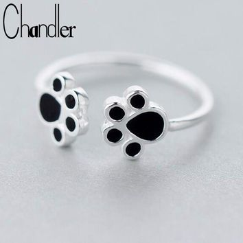 Chandler 1Pcs silver  Hot Double Dog Paw Rings New Fashion Cute Animal Cats Paws Black Footprint Ring Pet Lover Wedding Gift