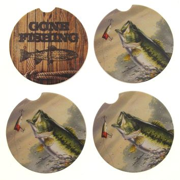 Reel Time Gone Fishing Rope Stone Car Coasters Set 4 CounterArt Absorbent