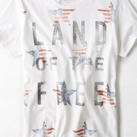 AEO Men's Land Of The Free Graphic T-shirt (White)