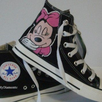 Hand Painted Minnie Mouse On Black Converse Shoes COP12