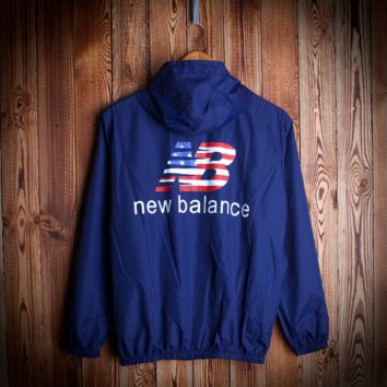 Navy Blue Unisex NEW BALANCE Hooded Jacket Lightweight