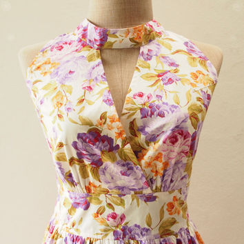 Purple Floral Bridesmaid Dress, Floral Cocktail Prom Dress, Shabby Chic Vintage Inspired Dress,Tea Party Dress- XS-XL, Custom