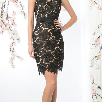 Sleeveless Lace Overlay Black Cocktail Dress Short