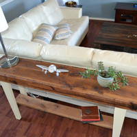 Handmade reclaimed  wood sofa table farmhouse style