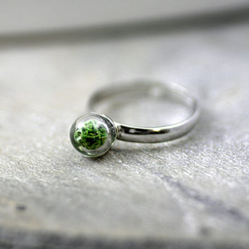 Sterling ring with real moss - delicate sterling ring with glass pearl filled with real dried moss. Stackable ring, tiny ring for her.