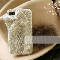 Bow iphone case diamond bow iphone 4 case crystal bow iphone 4s case iphone cover iphone 4 cover bling iphone 4s case cute iphone 4 case