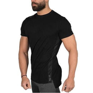 Summer Gyms Casual T-shirt Men Tight T shirts Fitness Men Summer Short Sleeve Cotton Gyms Clothing