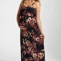 Black Floral Print Overlay Sash Tie Maternity Maxi Dress
