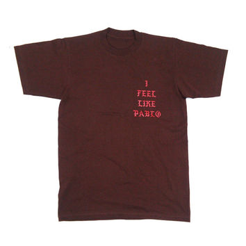 I Feel like Pablo Yeezy Kanye West T Shirt HEAVYWEIGHT Cotton BROWN LARGE