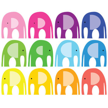 25% OFF SUMMER SALE. Elephant Clip Art. Rainbow Colours, Pink, Red, Yellow, Purple, Orange, Blue & Green. Scrapbooking Paper.
