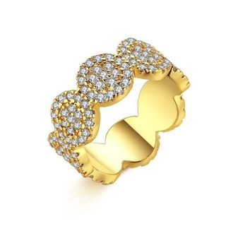 Micro-Pav'e Circular Honeycomb Swarovski Elements Ring in White Gold