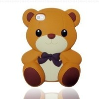 Best2buy365 3D Brown Cute Teddy Bear Soft Silicone Silicon Skin Case Cover for iPhone 5 5G 5th