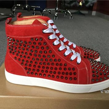 Christian Louboutin Red Suede Silver Louis Spikes Unisex Flat High-Top Sneakers