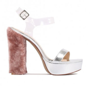 Faux Fur Heel Platforms Metallic Silver Blush