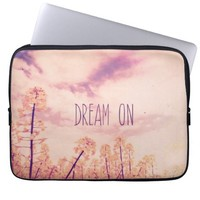 Purple Yellow Vintage Flowers Summer Sky Photo Computer Sleeve