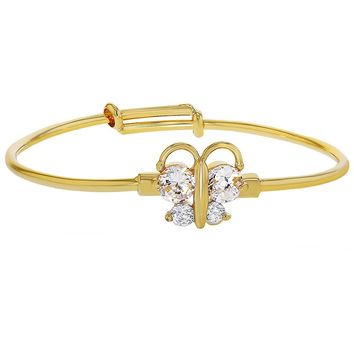 18k Gold Plated Clear Crystal Butterfly Baby Bangle Bracelet for Babies Adjustable