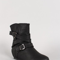 Buckle Mid Calf Boot Color: Whisky, Size: 7