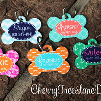 Personalized Dog Bone ID Tag - Monogram Your Pet - Dog Tag - Design Your Own - Made in USA