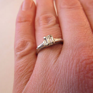 Vintage 1/3 Carat Emerald Cut VVS2 Diamond Solitare Engagement Wedding Ring 14k White Gold Promise Ring