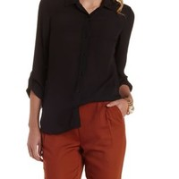 Black Open Back Chiffon Button-Up Top by Charlotte Russe