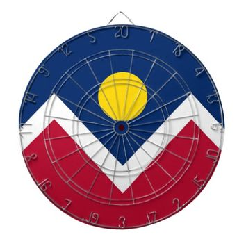 Dartboard with Flag of Denver, Colorado, USA