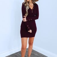 By The Way Dress: Burgundy
