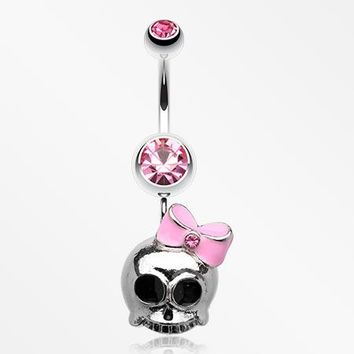 Adorable Skull Hair Bow Belly Ring