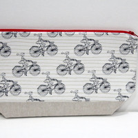 Bicycle knitting Project bag, Bike Crochet Project Bag, Girl on a bike zippered pouch,  cosmetic bag Toiletry Bag