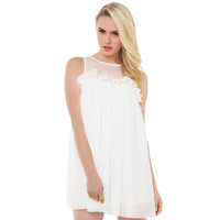 White Sleeveless Mesh Upper Pleated Mini Dress with Ruffle