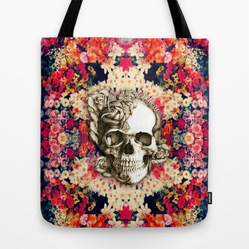 You are not here Day of the Dead Rose Skull. Tote Bag by Kristy Patterson Design