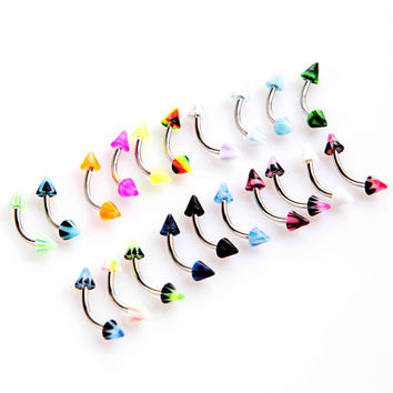 20Pcs Barbell Curved Eyebrow Rings Bars Tragus Body Piercing Jewelley Cone Eyebrow Rings SM6