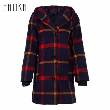 FATIKA Autumn Winter Coat Women Classic Wool Blends Red Green Plaid Hooded Coat Female Outerwear Windbreaker Trench Coats