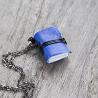 Miniature book necklace, mini book jewelry tiny book pendant steampunk journal necklace leather eco friendly necklace literature cobalt blue