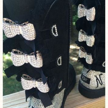 CREY1O Custom Order!!! Tall black Bailey Bow Ugg boots, Blinged with Bows. Swarovski monogram