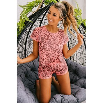 Rules Of The Jungle Leopard Print Two Piece Set (Coral)
